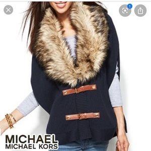 Michael Kors faux fur trim poncho navy size small
